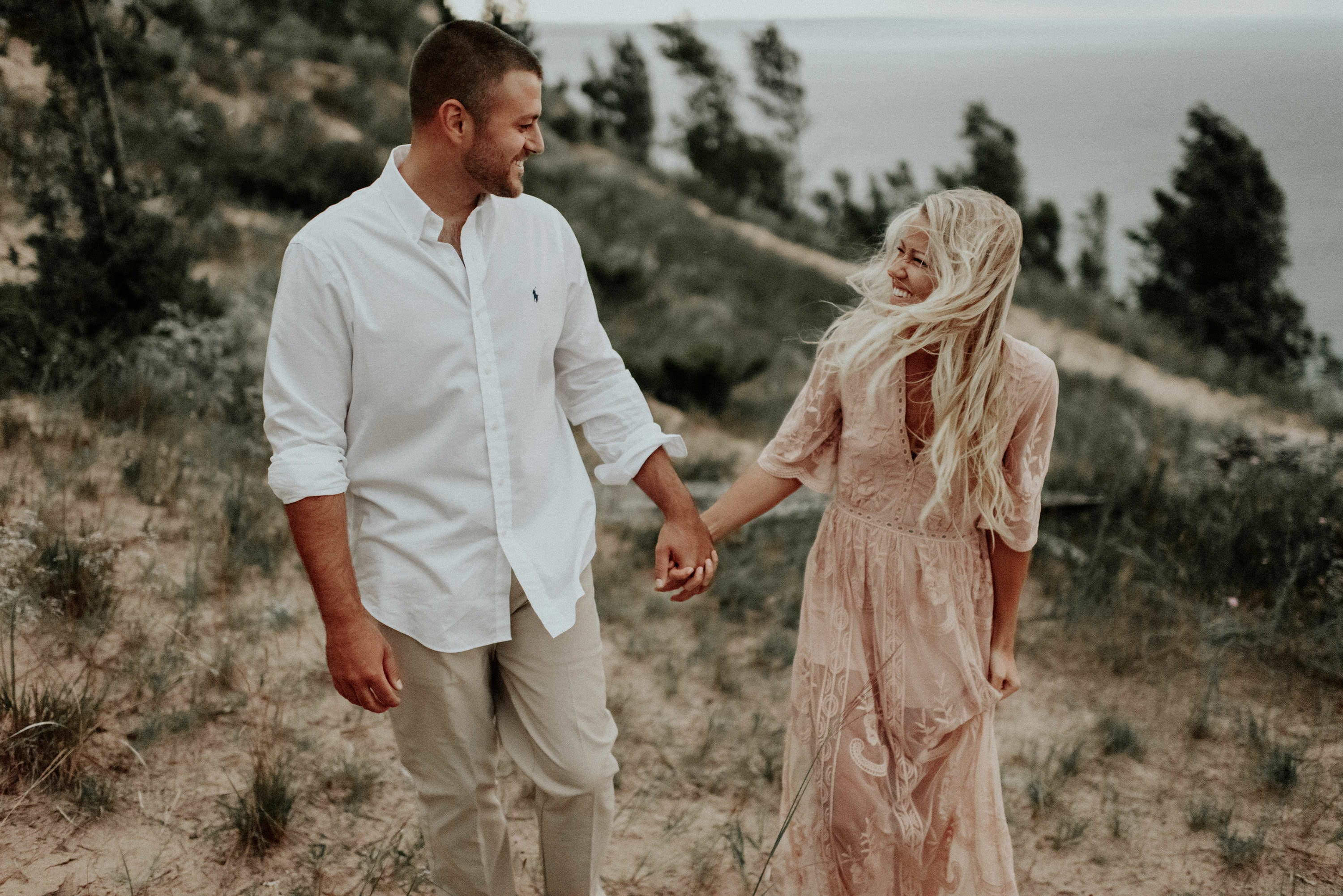 Windy, Empire Bluffs, Engagement Session, Josh Rexford