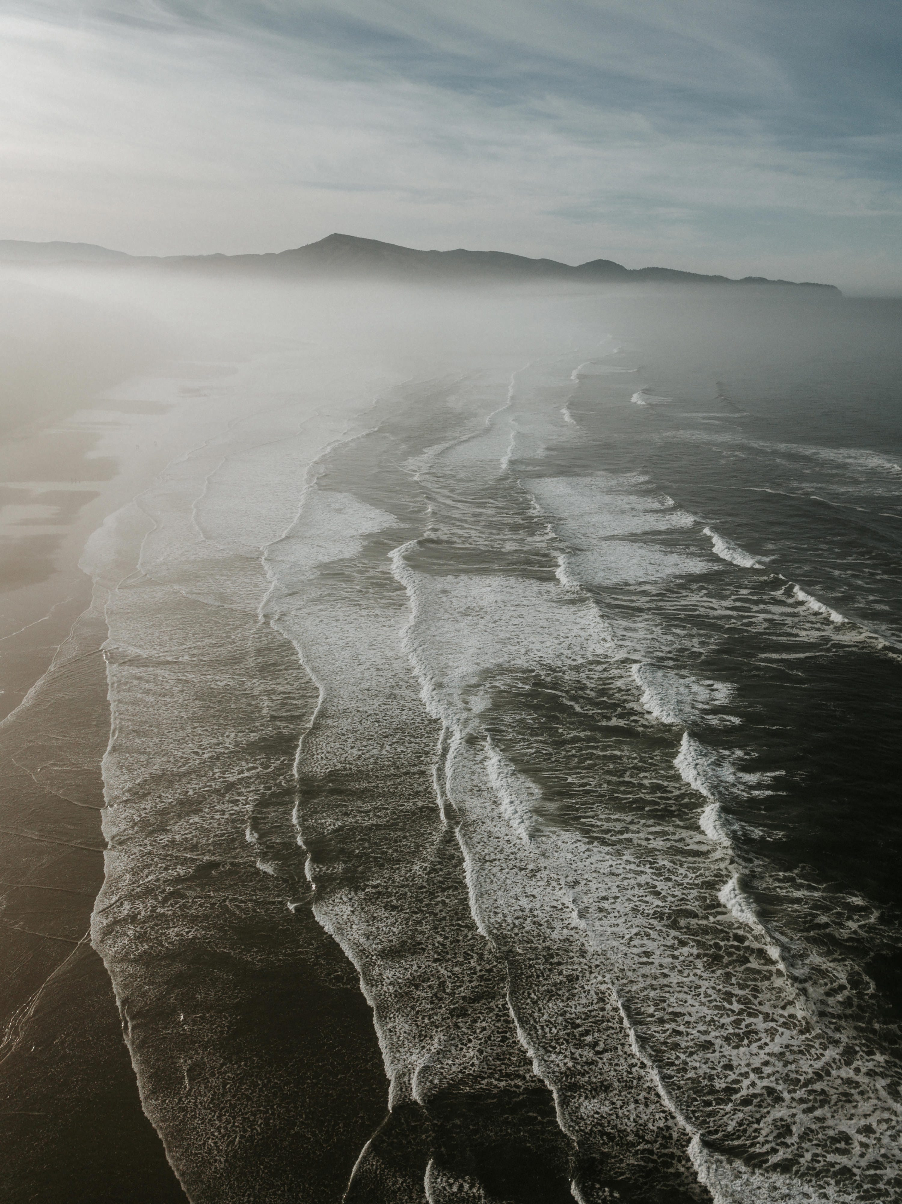 Drone shot over west coast beach